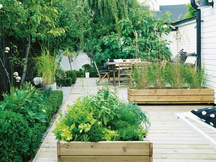 Houten plantebakken in de moderne tuin