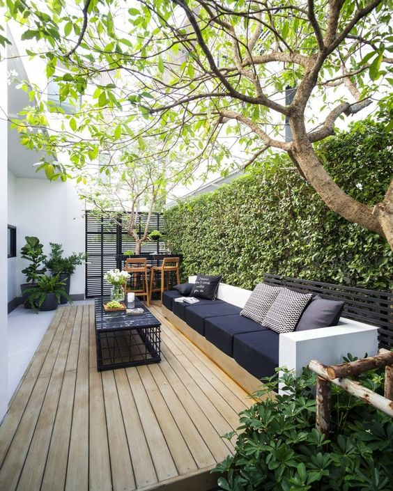 een overzichtelijke moderne tuin