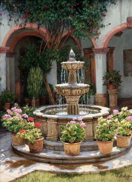 mediterraanse tuin fontein idee