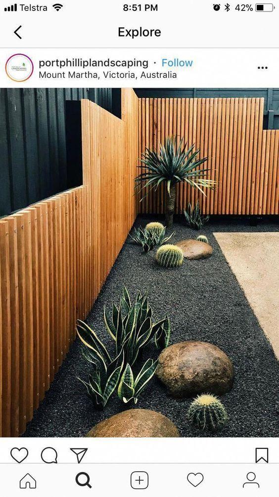 strakke houten schutting en gave tuinplanten