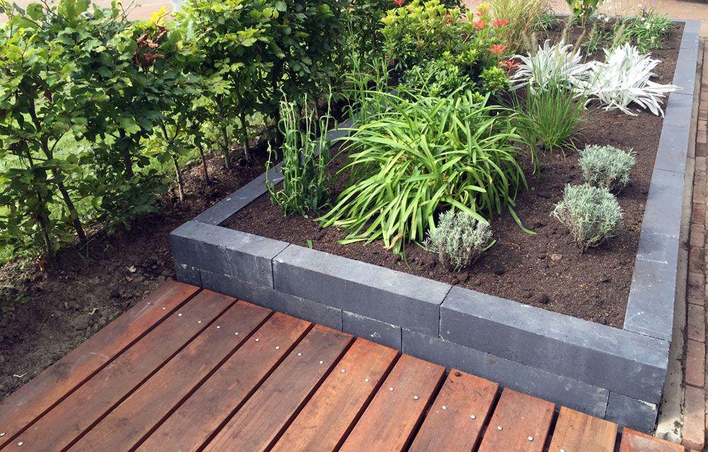 een moderne tuin met houten vlonder en hoge antraciet grijze border met mooie planten