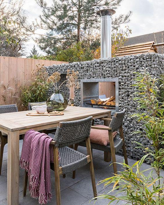moderne stenen terrasverwarming