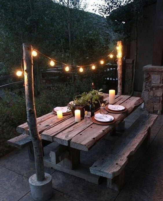tuin lamp ideeën licht boven de eettafel