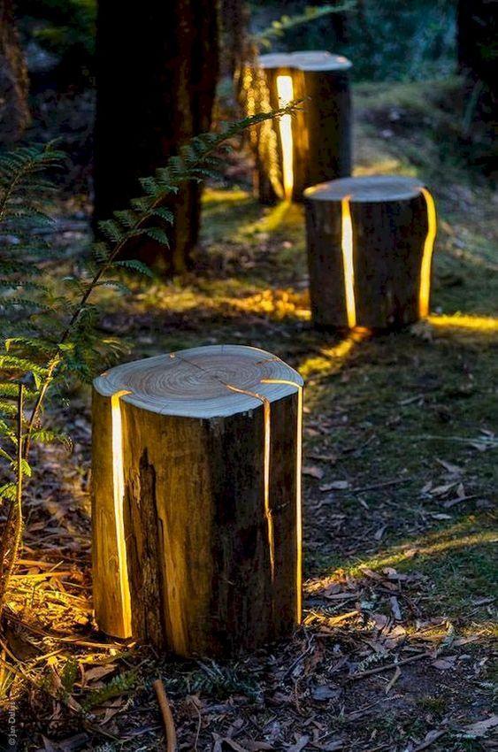 tuin lamp ideeën licht in boomstam