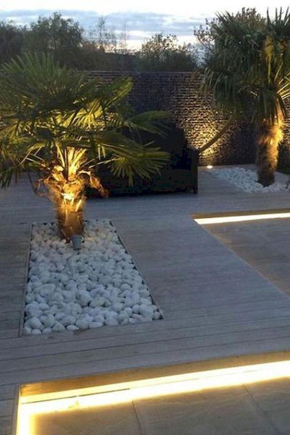 tuinverlichting  met spots  op planten