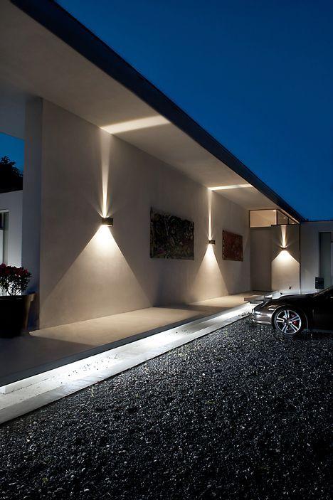 tuinlamp ideeën spotverlichting aan de muur
