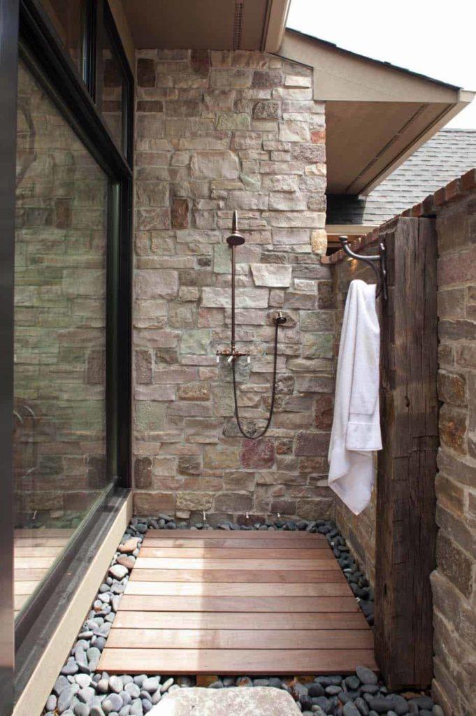 buitendouche maken tussen muur en schuifpui
