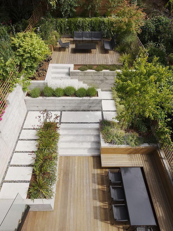 een tuin met twee verschillende terassen.