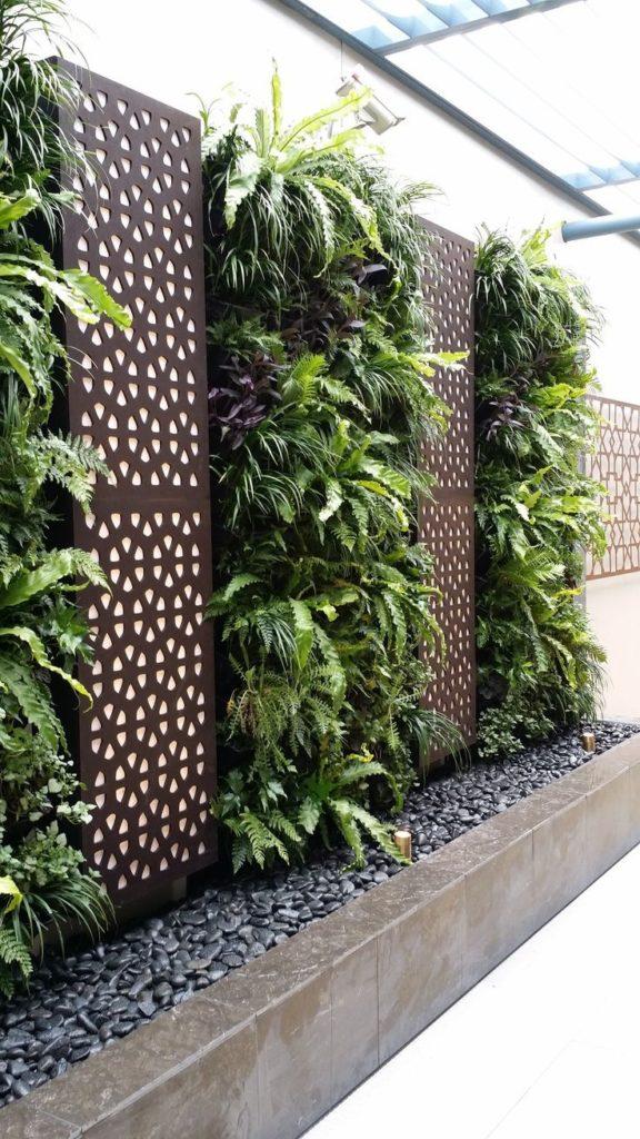 verticale plantenbakken met varens