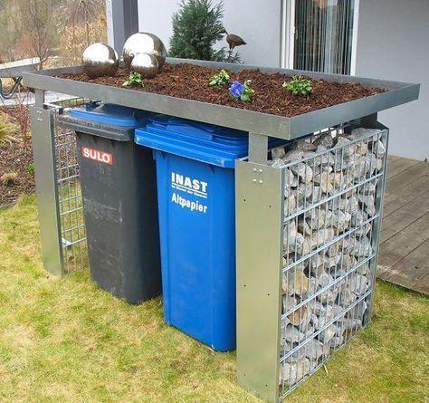 voortuin idee om afvalcomtainers op te bergen