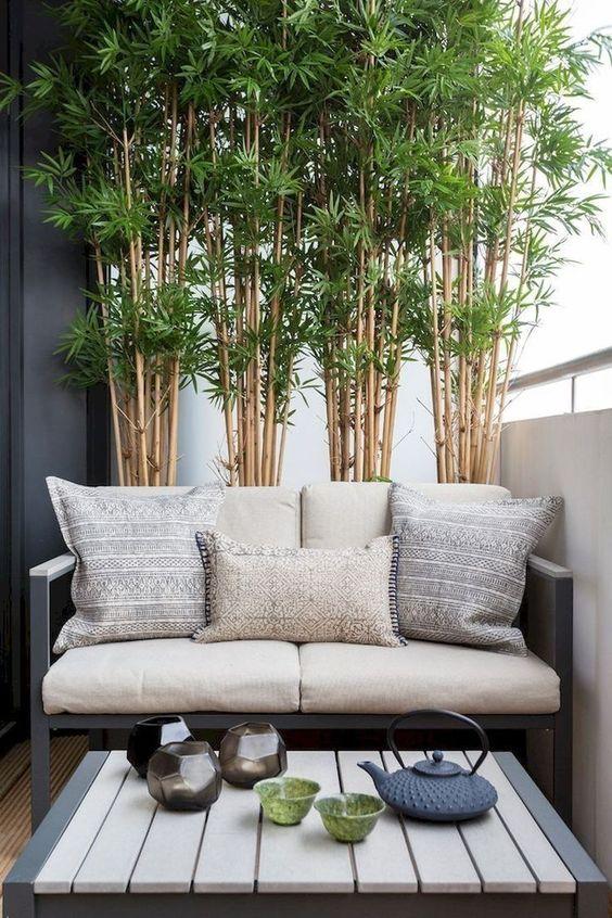bamboe en klein bankje op balkon
