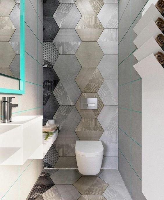 moderne design toilet inspiratie, voorbeelden en ideeën met toilet tegels, spiegels en wasbakken 4