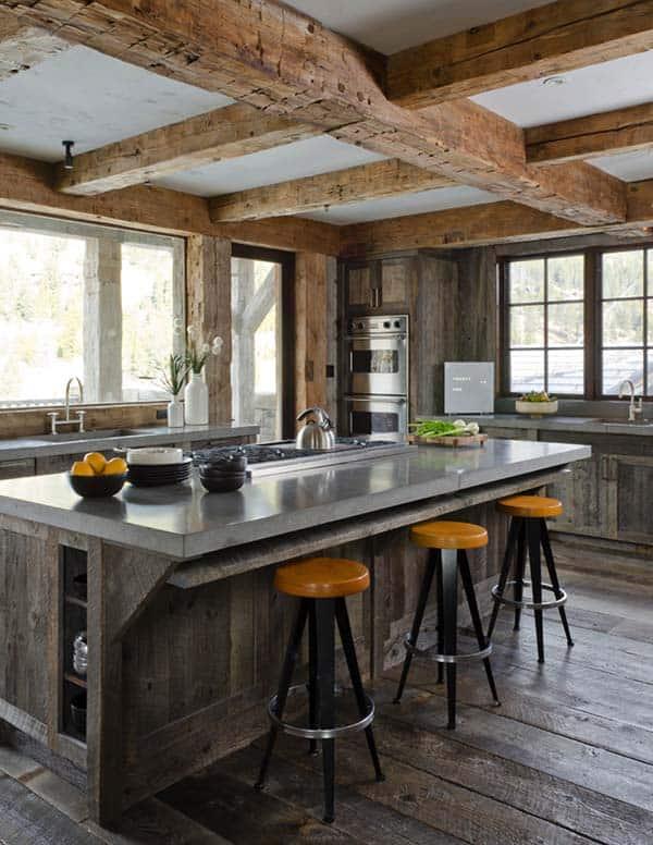 landelijke keuken met betonnen keukenblad en bad