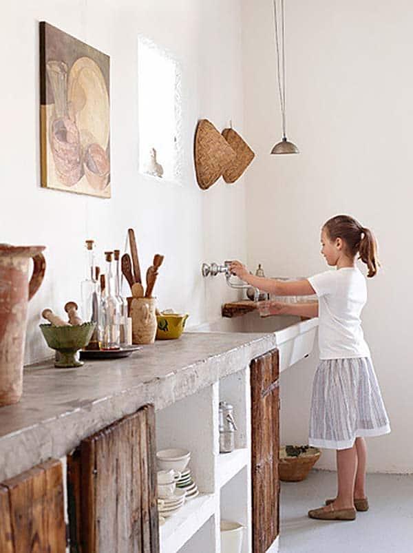 betonnen aanrechtblad en keukenblad ideeën & voorbeelden in landelijke keuken