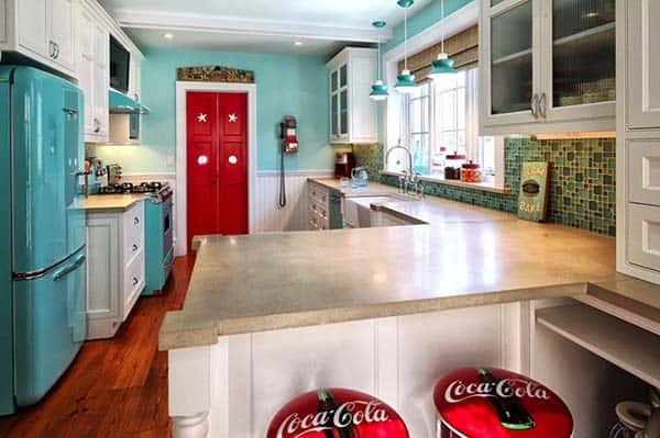 betonnen aanrechtblad en keukenblad ideeën & voorbeelden in vintage keuken