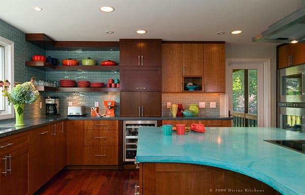 blauwe betonlook keukenblad ideeën