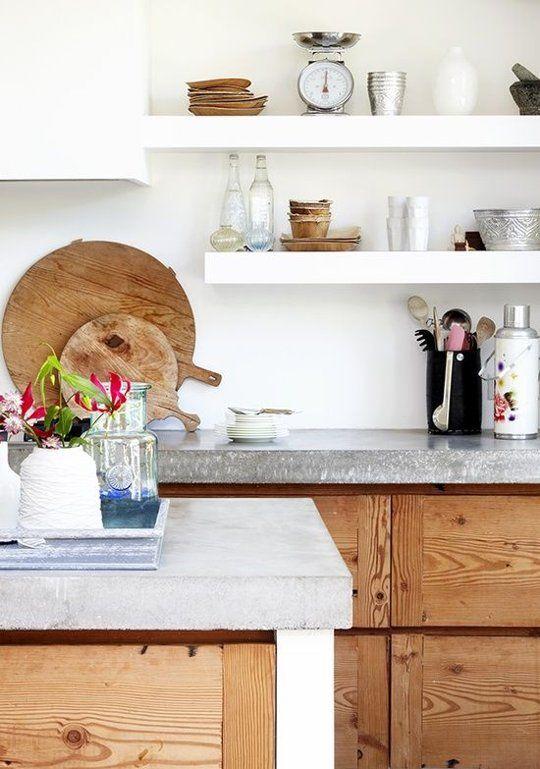 betonlook aanrechtblad in moderne keuken