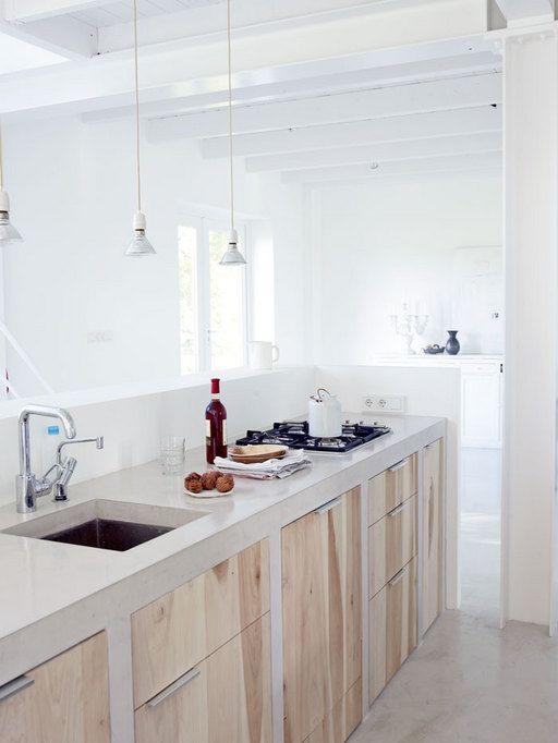 betonnen aanrechtblad en keukenblad ideeën & voorbeelden in scandinavische keuken