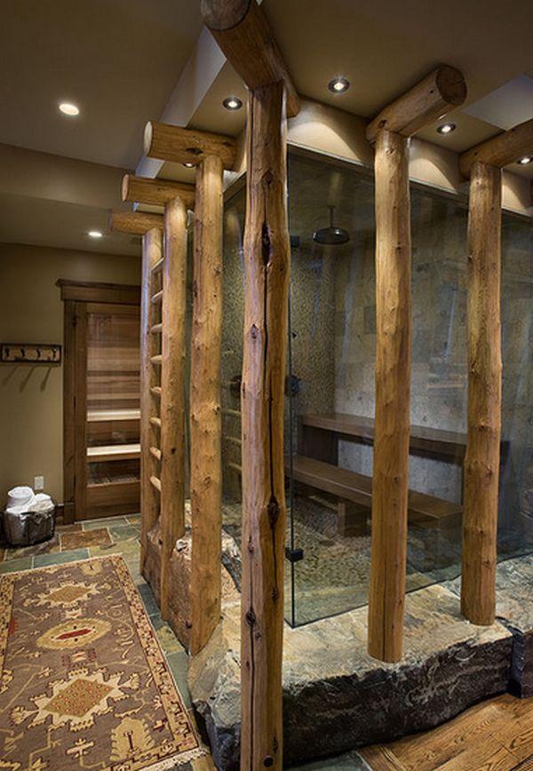 inloopdouche idee met hout in de badkamer