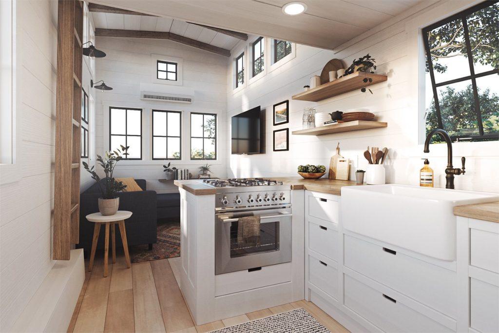 Kleine keuken met een schiereiland