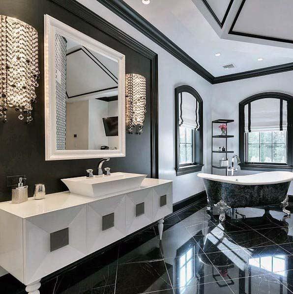 Zwarte-badkamer-ideeën-met-strak-landelijk-ontwerp-en-witte-wastafel-15