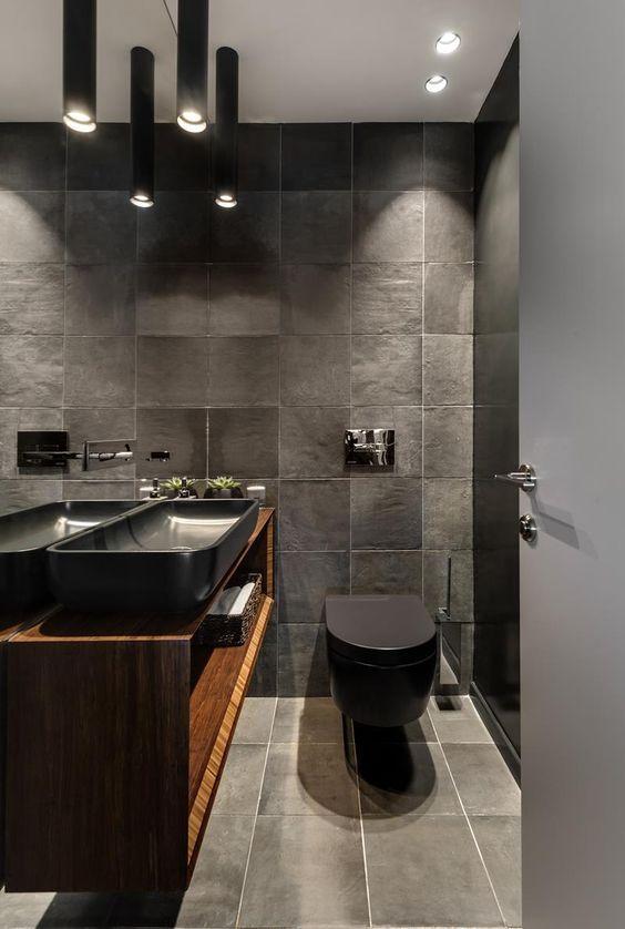 antraciet grijzen wc met houten meubel