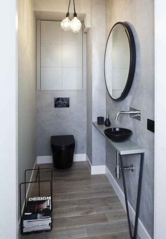beton cire toilet met zwarte toiletpot