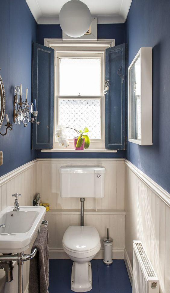 blauw landelijk toilet met witte wand en accessoires