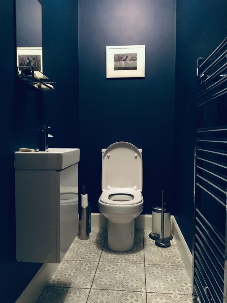 modern blauw wc