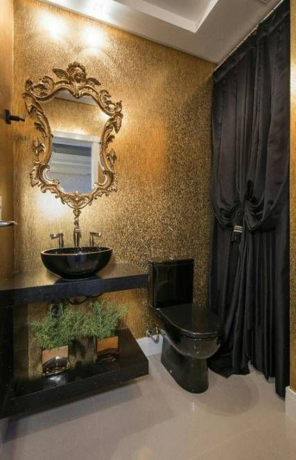 stijlvolle zwart met gouden toilet