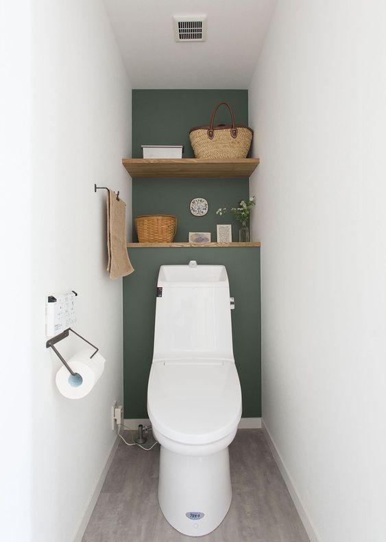 modern olijf groen toilet met witte muren