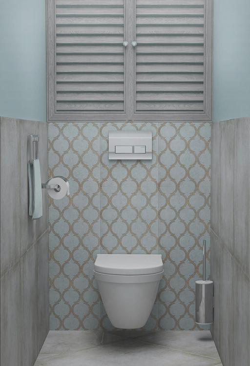 pastel blauw  landelijk toilet met tegels met patroon