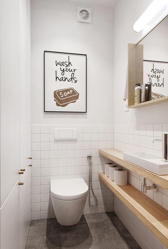 minimalistisch wc ontwerp met houden accessoires en wastafel