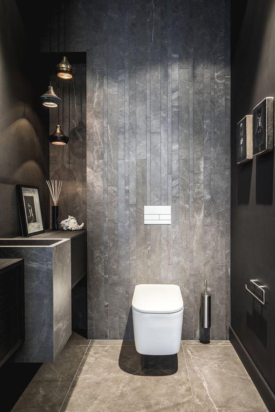 modern zwart toilet idee met natuurstenen tegels