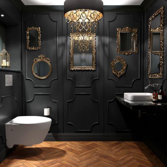 klassiek wc met houten visgraad vloer