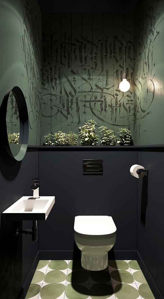 zwart met groene toilet idee met ronde spiegel en witte wastafel