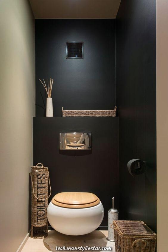 modern landelijk wc met zwarte muur