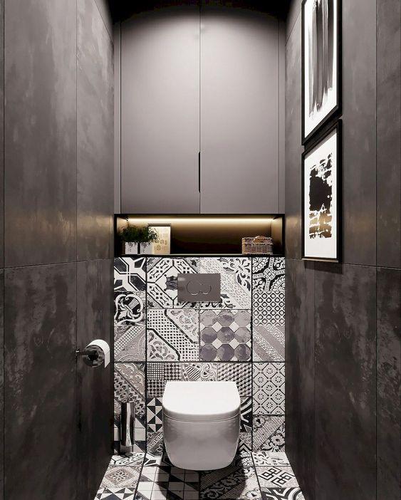 antraciet grijs wc met tegels met patronen