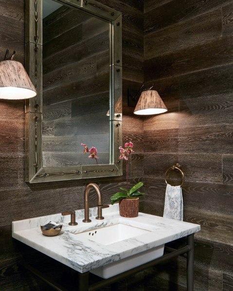 moderne houten muur in de badkamer