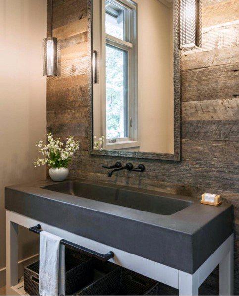 moderne houten muur in het toilet