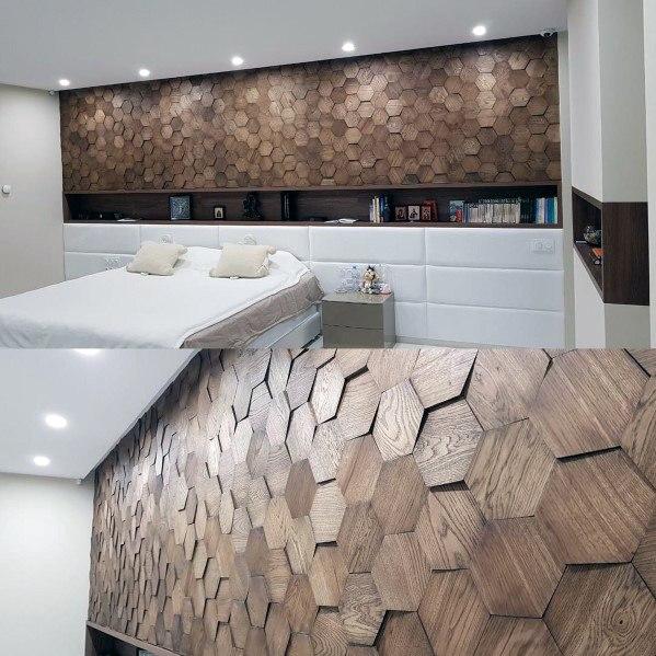 moderne houten muur in de slaapkamer van zeshoek tegels