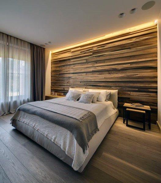 moderne houten muur in de slaapkamer met belichting