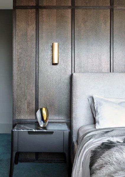 moderne houten muur in de slaapkamer