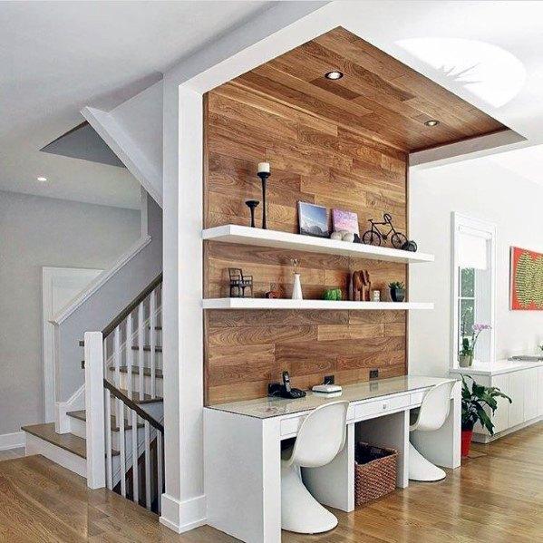 moderne houten muur in het thuis kantoor