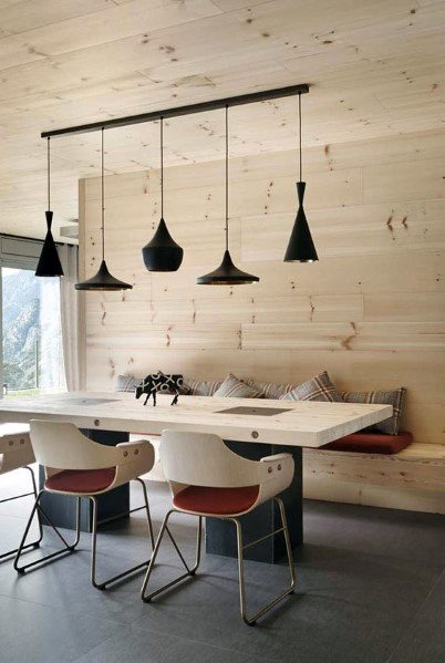 scandinavische houten muur in de woonkamer