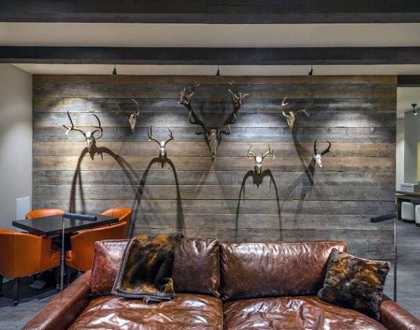 industriele houten muur in de woonkamer