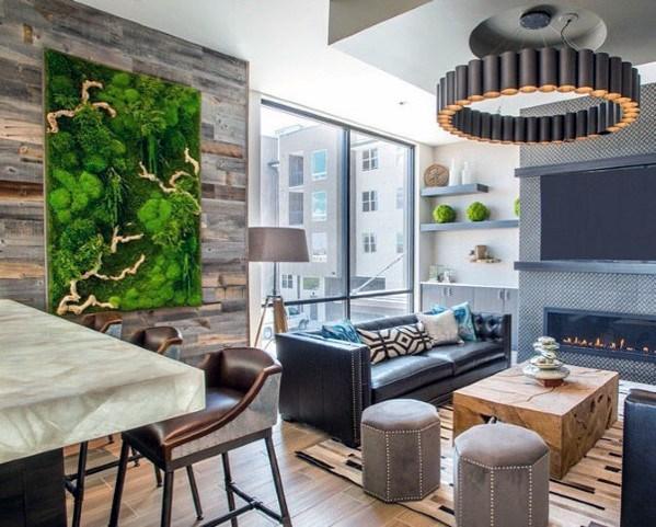 moderne houten muur in de woonkamer