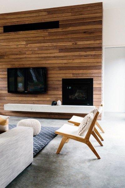moderne houten muur in de woonkamer van horizontale planken