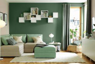 Groen muur woonkamer voorbeelden