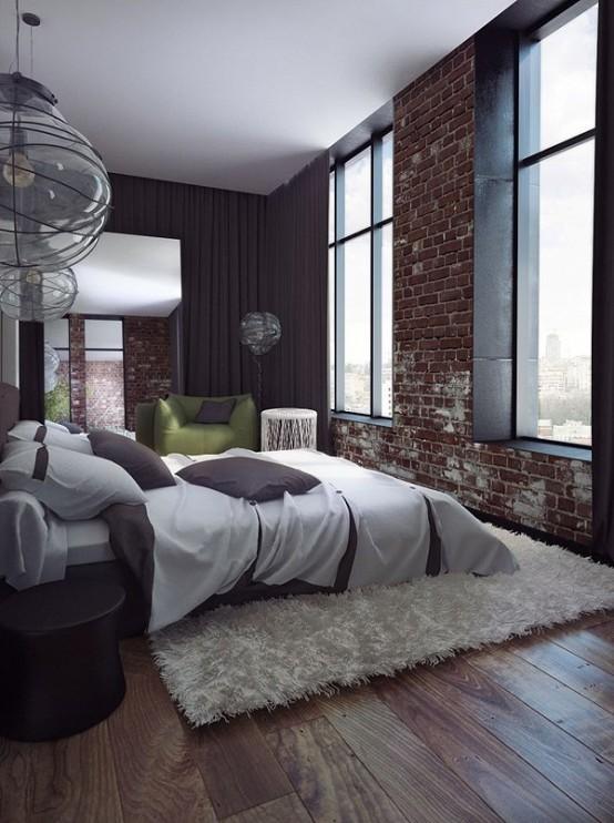bakstenen muur behang in moderne loft slaapkamer met hoge ramen